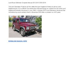 Land Rover Defender 2012-2015 Workshop Service Repair Manual