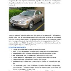 Hyundai Azera 2005-2010 Workshop Service Repair Manual
